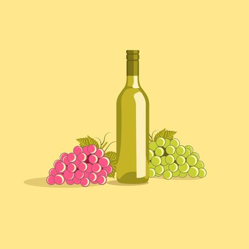 Wine Bottle with a Bunch of Grapes
