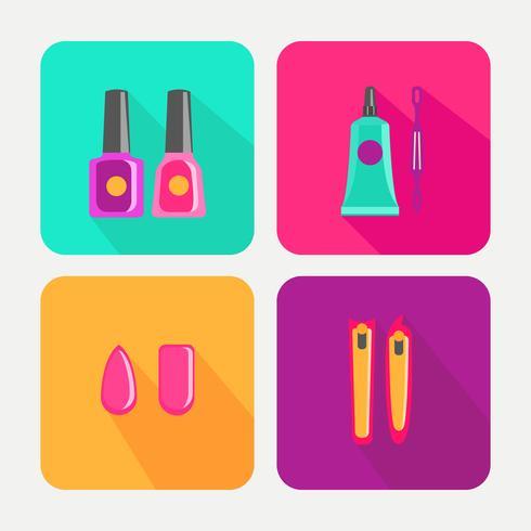 Conjunto de ícones de pedicure e manicure vetor