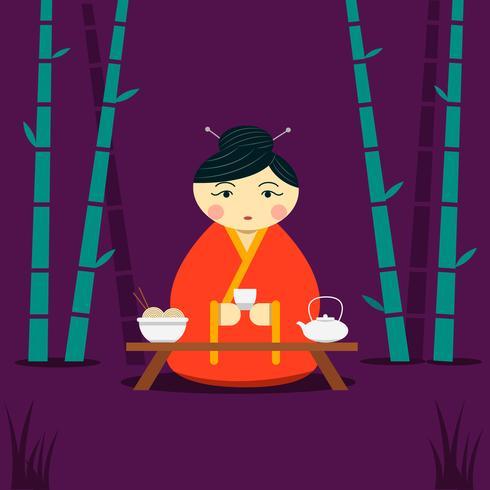 Femme chinoise ayant infusé du thé et des nouilles