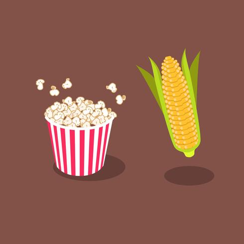 Popcorn Tub avec du maïs en épis isolé sur un fond marron