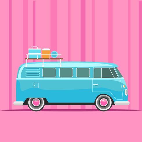 Blue Retro Camper Van en fondo rosa