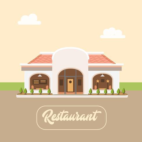 Restaurant moderne vue de face avec espace de stationnement ouvert