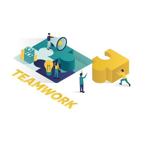 ilustração isométrica do conceito de trabalho em equipe