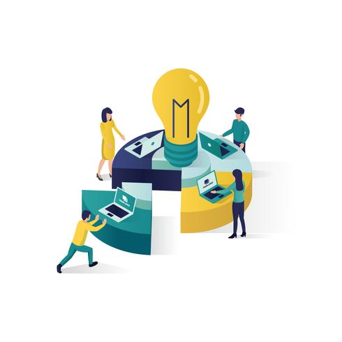 teamwork concept isometric illustration