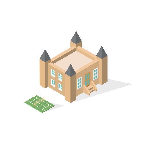 Isometrisk skolbyggnad med lekplats