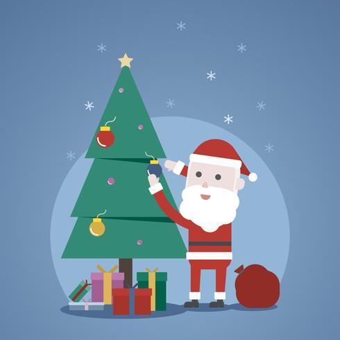 Christmas winter concept, Cute Santa claus's decorating a christmas tree vector