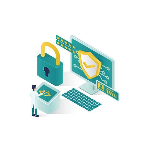 illustration de sécurité de données isométrique