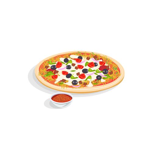 Realistische italienische Pizza und Gewürze