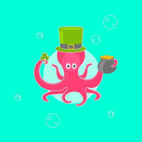 Saint Patrick's Day Card With an Octopus Character