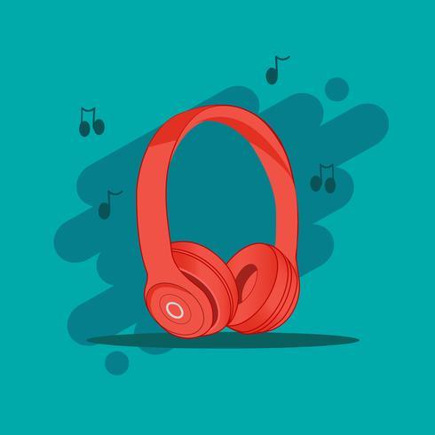 Röd trådlös hörlurar i blå bakgrund