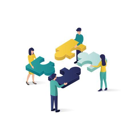 illustration isométrique de concept de travail d'équipe