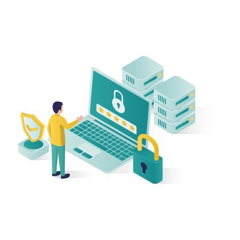 isometric data security illustration vector