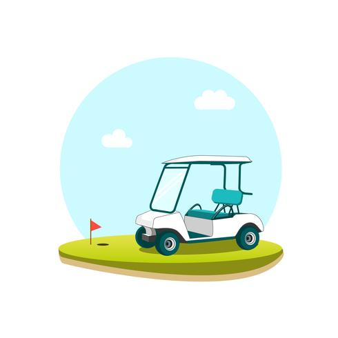 White Golf Cart on a Golf Course vector