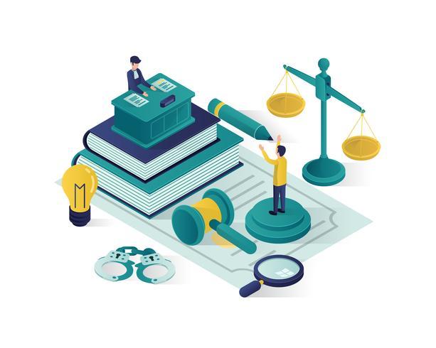 rättvisa och lag isometrisk illustration