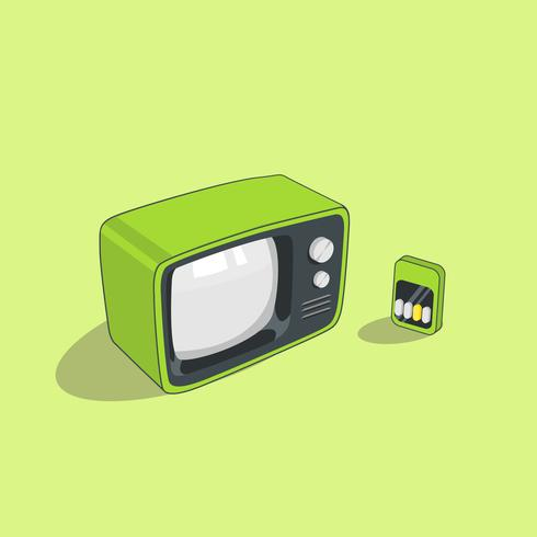 Green Retro Television with Remote Isolated on Green Background