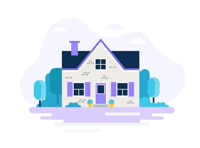 Modern house with garden.  vector