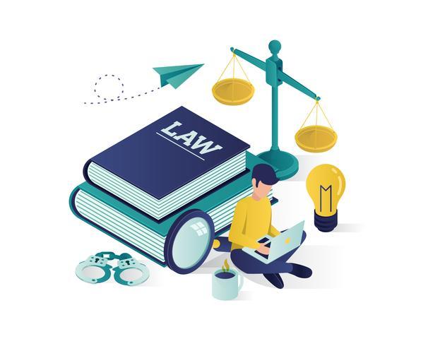 justitie en wet isometrische illustratie