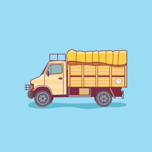 Cargo Delivery Truck Van Isolated op een Blauwe Achtergrond