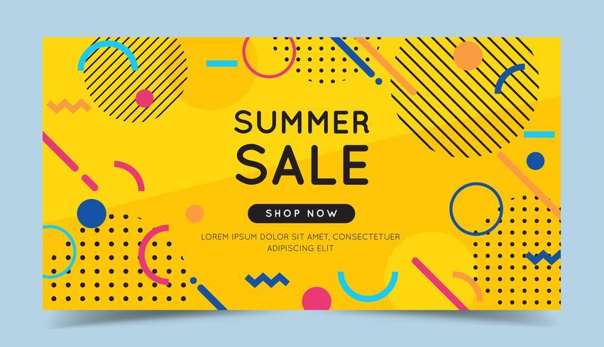 Bannière de vente d'été avec des éléments géométriques abstraits