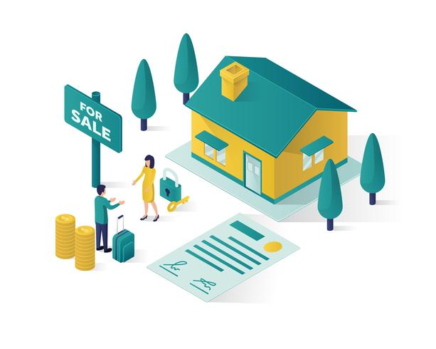 real estate isometric illustration vector graphic