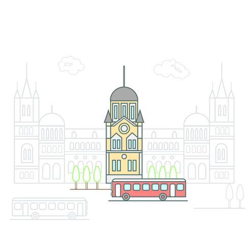 Ville moderne avec bâtiments et infrastructures de transport