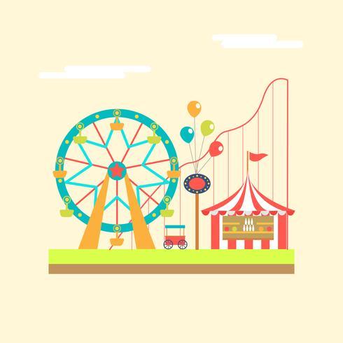 Festival de carnaval avec stands de jeu, manèges et chariot de nourriture