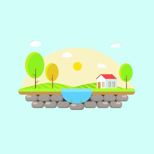 Hermosa escena de campo con una casa y un lago vector
