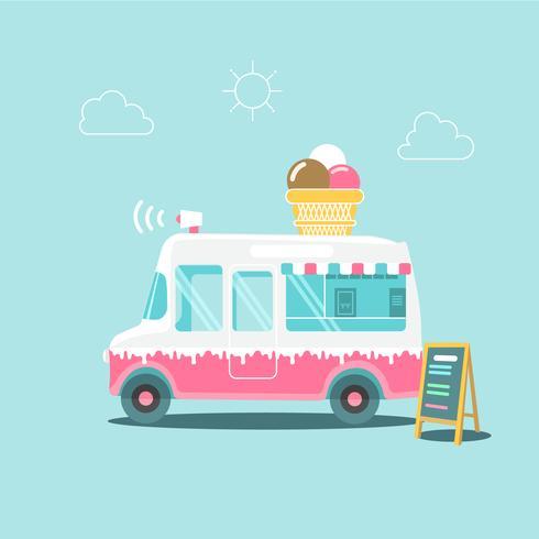 Lindo camión de helados de color rosa y blanco