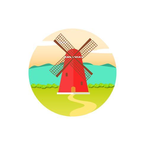 Röd Retro väderkvarn på ett grönt landskap.