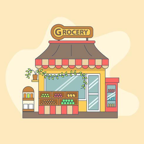 Pequeña tienda de abarrotes con productos exhibidos afuera