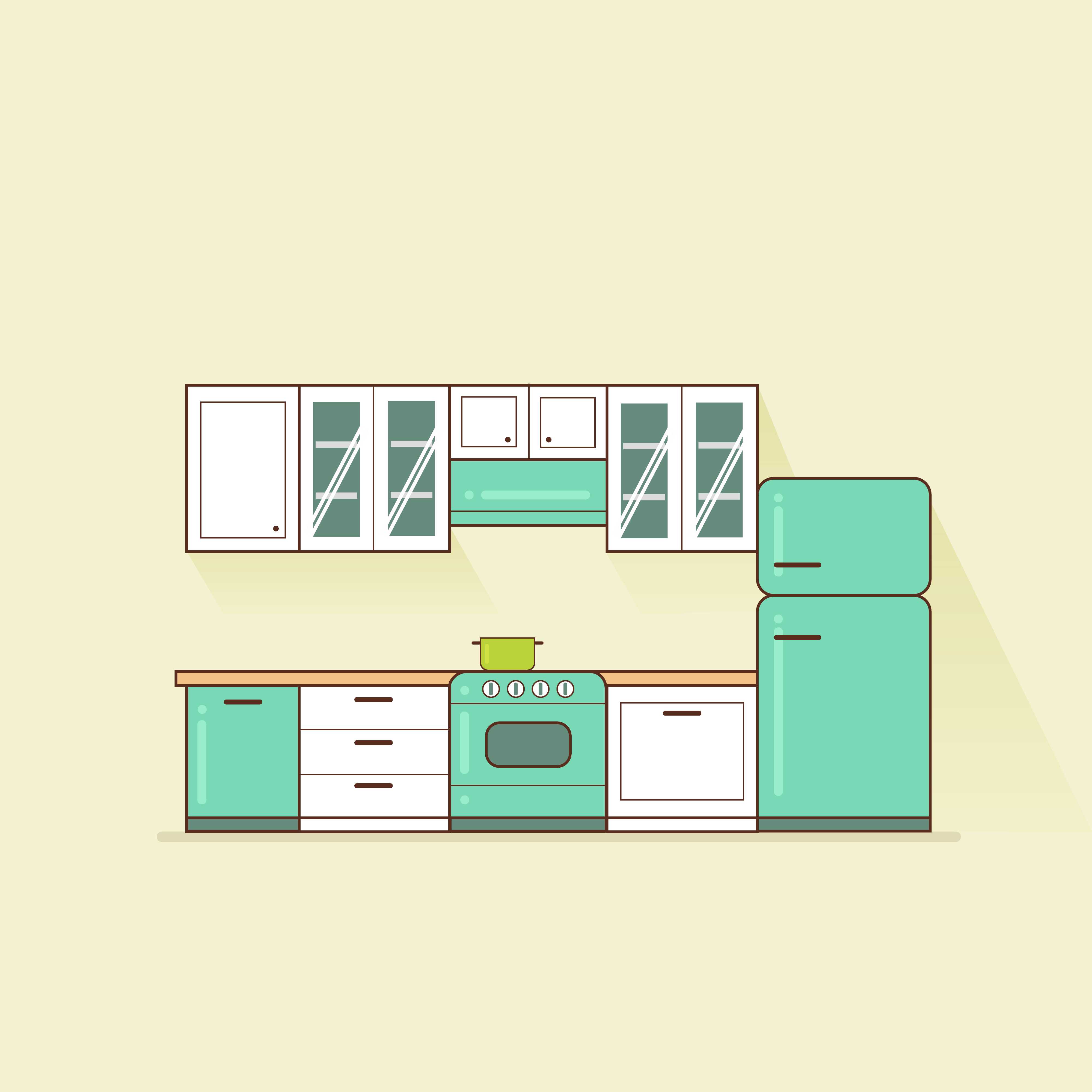 Modular Kitchen with Cabinets and Equipment - Download ...