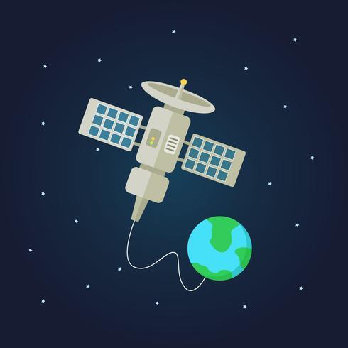 Satélite de comunicação no espaço com a terra em segundo plano
