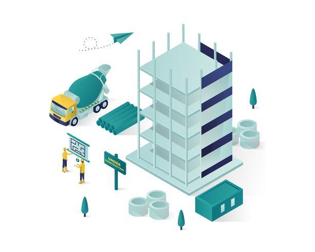 edificio en construcción ilustración isométrica