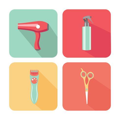 Hårsalongutrustning Färgglad ikonuppsättning