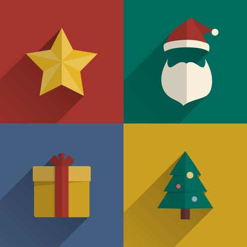 Christmas Icons flats design set with long shadow vector