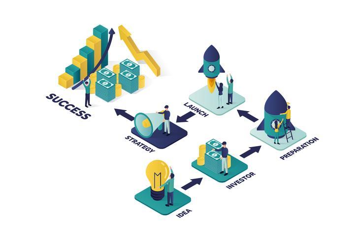 illustrazione vettoriale isometrica un gruppo di personaggi di persone stanno preparando l'avvio di un progetto di business