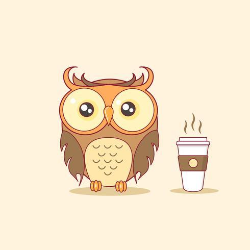 Brown Night Owl mit heißer Kaffeetasse