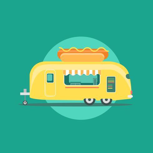 Caminhão de comida de cachorro-quente amarelo Van