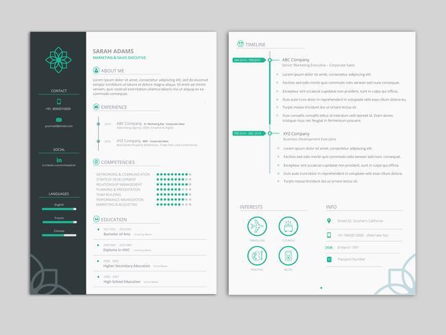 Schoon en minimaal professioneel CV CV-sjabloon vector