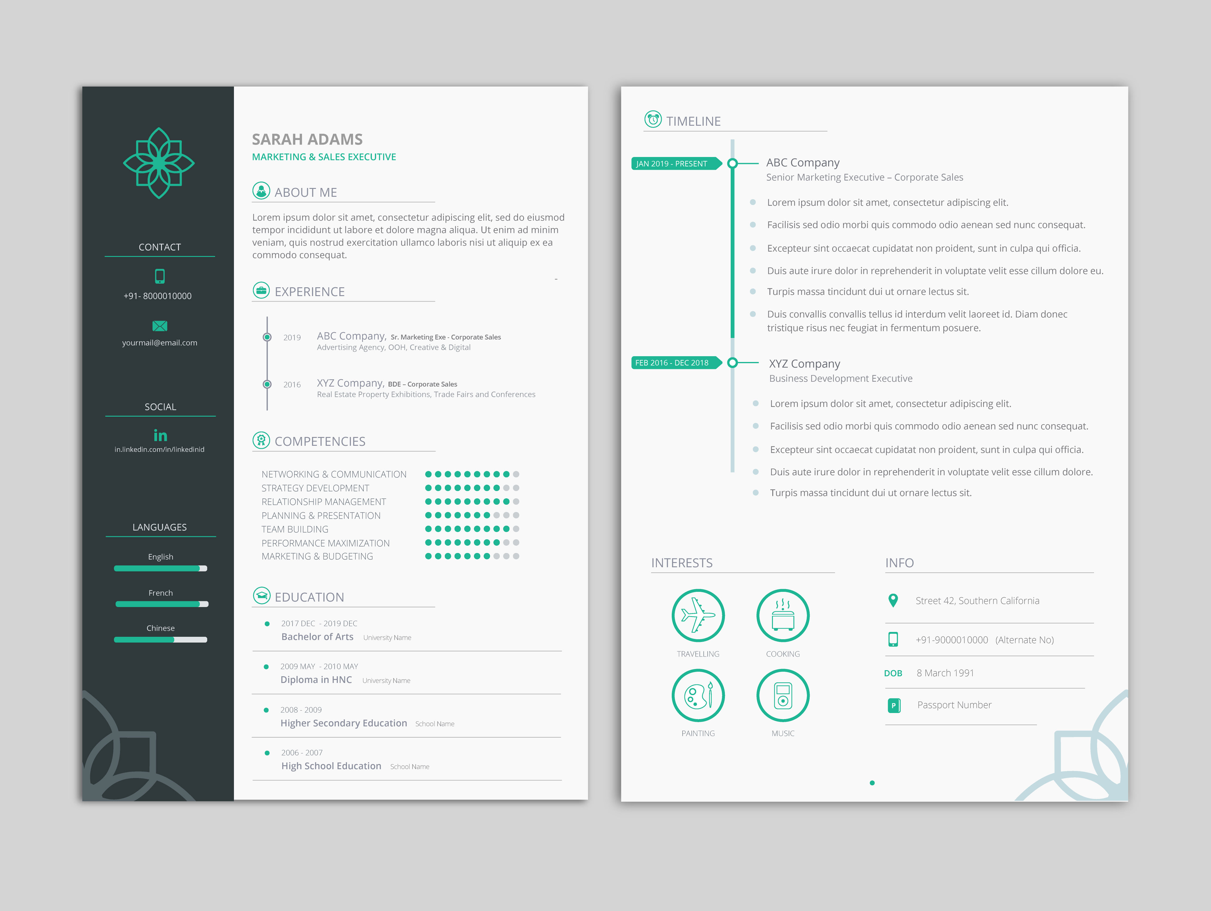 clean and minimal professional resume cv template vector