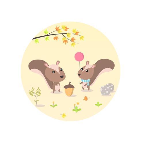 Niedliche Cartoon-Eichhörnchen-Charaktere