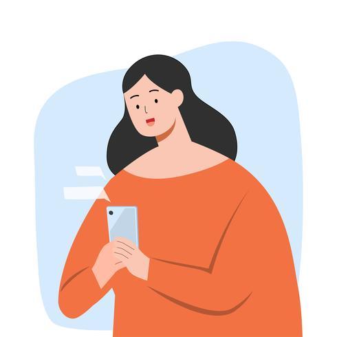 Mujer feliz mensaje de texto en el teléfono inteligente, ilustración vectorial de caracteres.