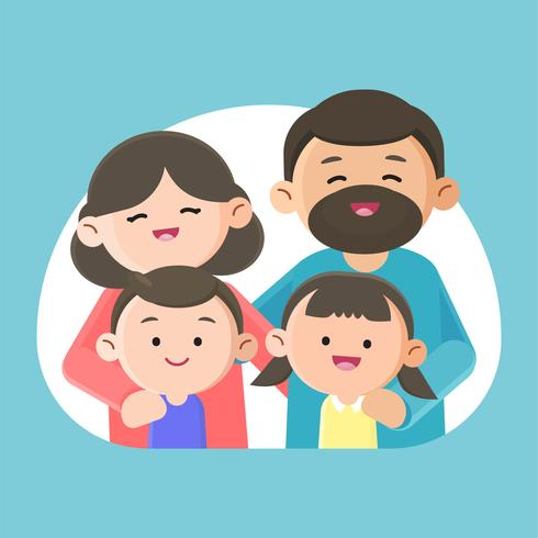 Family smiling happily together vector