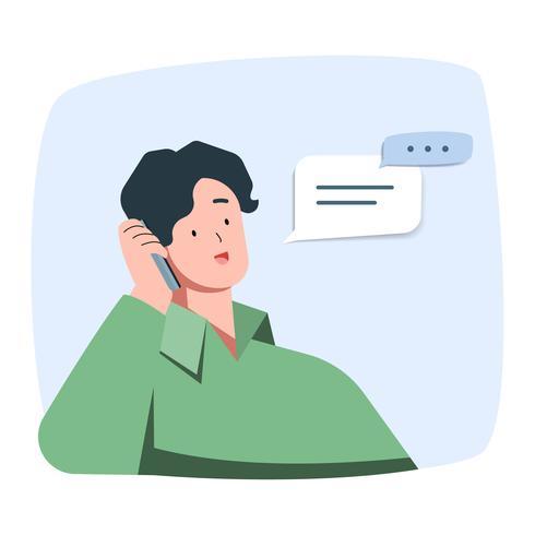 Jonge man lacht praten aan de telefoon