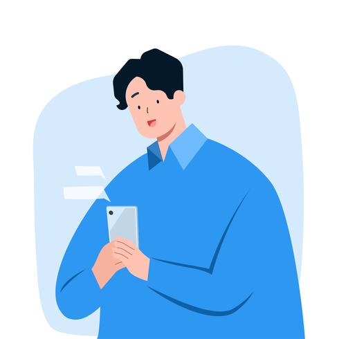 Young man texting message on smartphone vector
