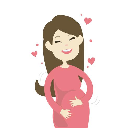 Lycklig le gravid kvinna