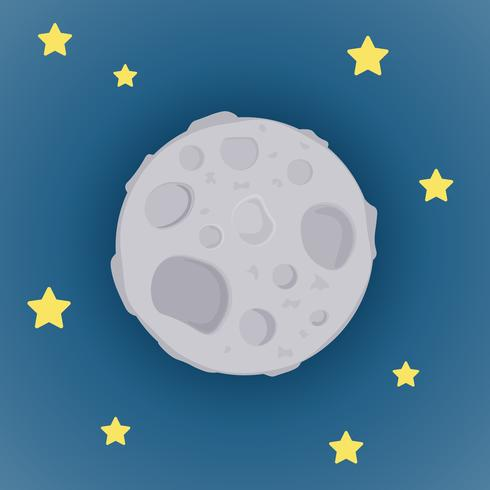 Cartoon moon and stars background vector