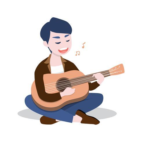 Il giovane felice che gioca la chitarra e canta una canzone, isolata su fondo bianco