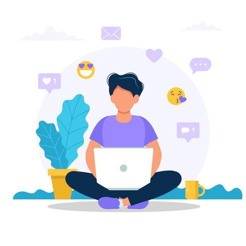 Hombre sentado con una computadora portátil. vector