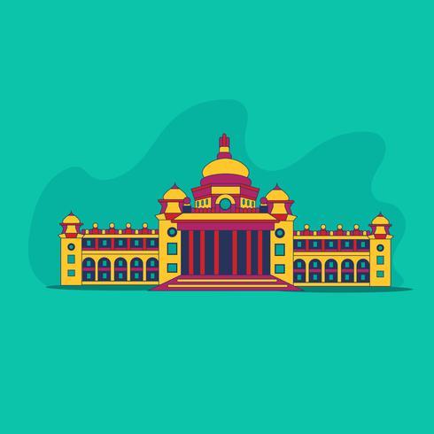 Bâtiment de monument historique coloré abstrait vecteur